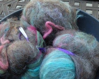 Foofaraw handspinning wool batts with Border Leister, merino, silk, and sparkle, 3 ounces