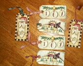 Set of 6 Christmas Holiday Gift Tags, Santa, Believe, Peace to All, Joy