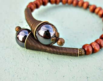 Wood Beaded Adjustable Memory Wire Cuff Bangle Bracelet with Hematite and Brass Accents: London