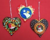 Hand painted wooden christmas hearts, unique one of a kind, holiday decoration, christmas tree decorations.