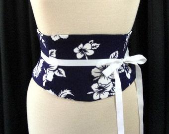Indigo Hawaiian Shirt Hibiscus Floral Waist Cincher Corset Belt Any Size