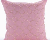 Decorative Throw Pillow Covers Accent Pillow Couch Sofa Bed Pillow Case 16x16 Pink Linen Pillow Cover Pearl Bead Embroidered Pink Fairy tale