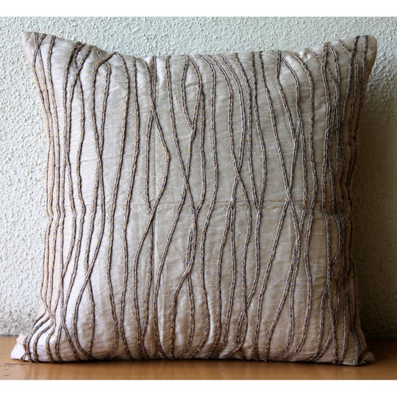 luxury beige decorative pillows cover 16x16 silk. Black Bedroom Furniture Sets. Home Design Ideas