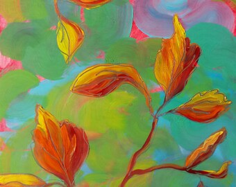 Leaves 1 original abstract nature oil painting