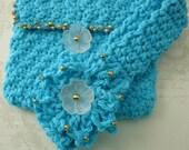 Child's Purse, Handmade Purse, Crocheted Bag, Girls Purse, Purse & Headband Set, For Her, Children's Accessories, Aqua Handbag, Headband