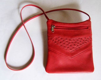 Red Leather Purse with Ostrich Inlay - Rectangular Cross Body Style - Red Leather Handbag - Festival Bag
