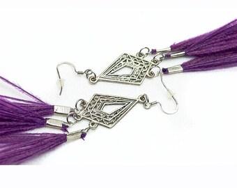 Flowing Chandelier Purple Peacock Feather Earrings