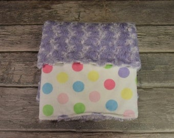 Couture Pastel Polk dots with a lavender minky