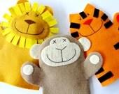 SALE - PDF ePATTERN for Lion, Monkey & Tiger Felt Hand Puppets