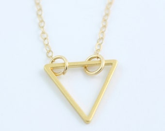 Gold Plated Triangle Necklace - Simple Geometric Necklace - Layered Necklace - Minimalist Necklace