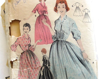 1950s Misses Softly Pleated Shirt DRESS Pattern Full Skirt Vintage Sewing Pattern Butterick 8078 // Size 14