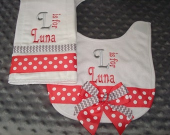 Luna Personalized Bib and Burp Set - Coral and Grey ribbons  - Choice of Name and/or Initials