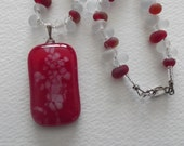 P 479 Fused red pendant with beaded necklace.