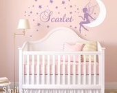 Stars Wall Decal Moon Wall Decal Fairy Wall Sticker Fairy Wall Decal Nursery Sticker Personalized Name Wall Decor Baby Girl Room