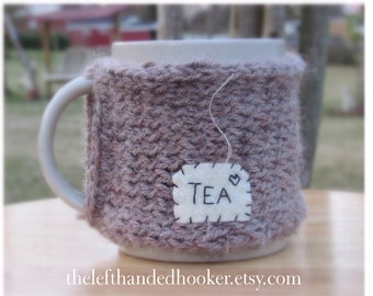 Knitted tea mug cozy cup cozy in mushroom taupe with hanging tea patch