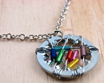 Statement Necklace Pendant Steampunk Wire Wrapped Hardware Jewelry Multi Color Beads Gift under 25