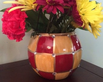 Medium Hand Painted Round Burgundy and Ocre Vase with crystal details