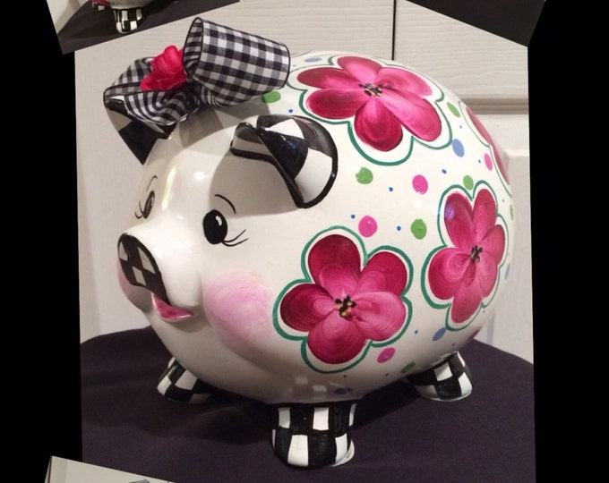 Whimsical Painted Furniture, Piggy Bank // Painted Piggy Bank // Whimsical Painted Bank // Custom Painted Bank