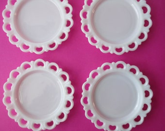 Vintage Milk Glass Lacy Plate Collection of Four