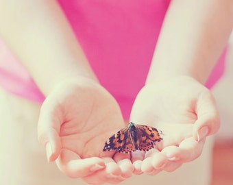 Fine Art Nature Photo, Butterfly Photo, Girl Holding Butterfly, Nature Print, Nursery Art, Girls Room, Pastel, Pink, Butterfly, Insect Photo