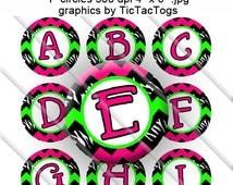 Zebra Black Hot Pink  Lime Green Chevron Bottle Cap Images Digital 1 Inch Circle Alphabet Alpha Digital - Instant Download - BC455
