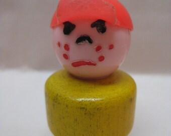 Boy Cap Yellow Orange Little People Fisher Price Plastic Wood Toy Vintage