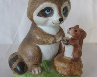 Raccoon Squirrel Figurine Brown Porcelain Vintage