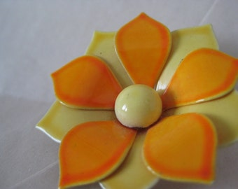 Flower Enamel Brooch Orange Yellow Vintage Pin