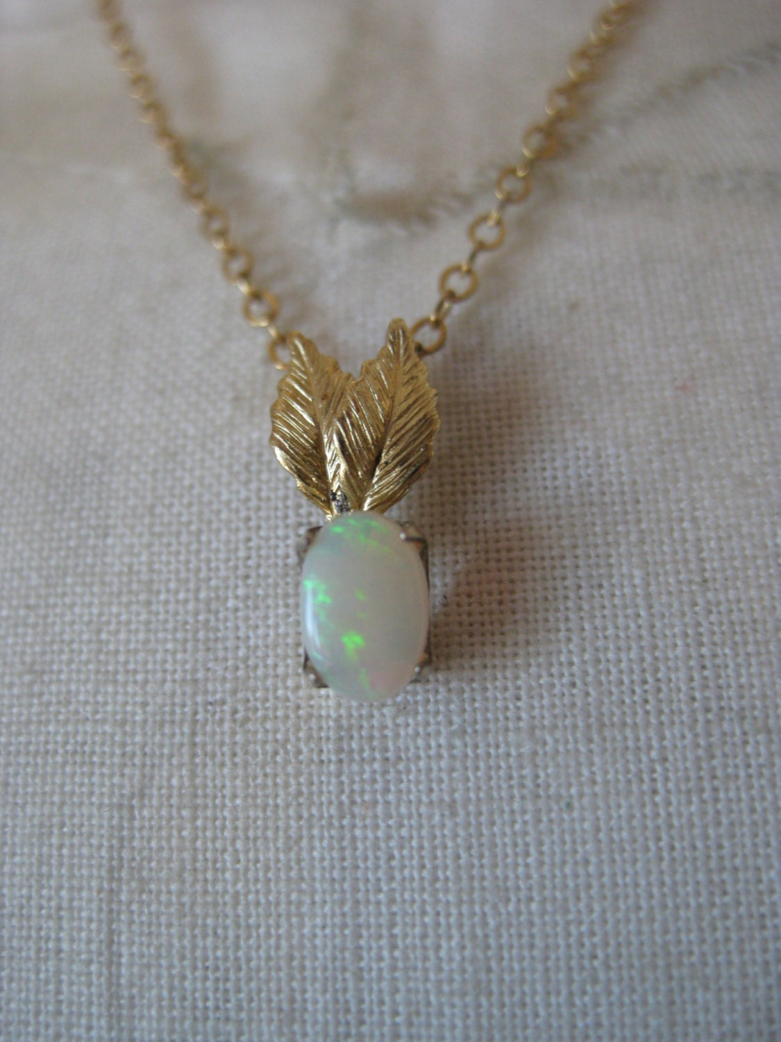 opal leaves gold necklace vintage pendant by