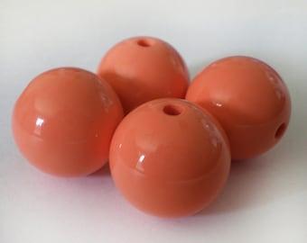 18mm Dark Peach acrylic beads - 6pcs