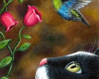 Laminated Fridge Magnet Print ACEO Cat 571 Hummingbird from art painting by L.Dumas