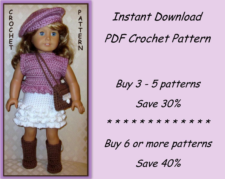 Easy Crochet Doll Skirt Pattern : PDF crochet pattern 25 top skirt hat boots and shoulder
