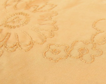 Vintage Embroidered Flower Power Gold Tone on Tone Fabric, 1.3 Yards