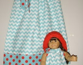 American Girl Doll dress clothing Aqua chevron dress matching 12,18 month 2t,3t,4t,5t,6,7,8,10,12