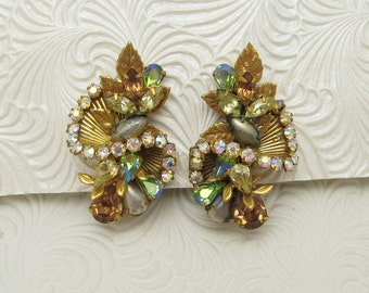 Long Vintage Rhinestone Earrings Robert Jewelry E6238