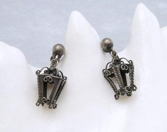 Sterling Lantern Earrings Artisan Vintage Jewelry E6256