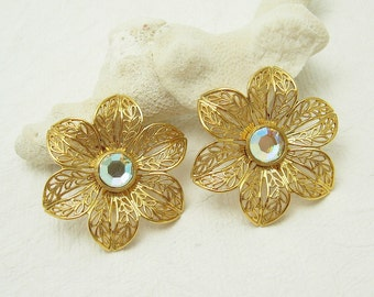 Large Flower Earrings Filigree Jewelry Vintage Costume Jewelry E6542