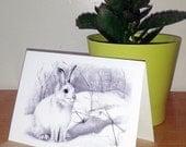 """Snow Bunny Christmas Card 5x7"""""""