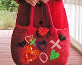 Big Hearted Woman  A Large Red Felted Bag with Heart Motif