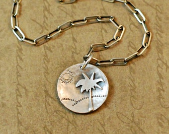 Sterling silver, necklace, pendant, sawed, soldered, palm tree, beach, Life's A Beach, ocean, sand, sun, handcrafted oxidized, rustic, chain
