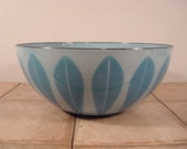 Price reduced.....Catherineholm (Norway) enamelware Lotus bowl- Mid Century, beautiful, light and medium blue- FREE SHIPPING