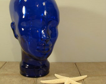 Gorgeous weighty cobalt blue glass head-hat stand