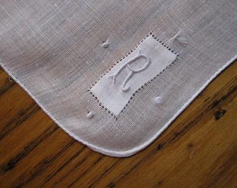 Monogrammed Vintage Handkerchief, R Monogrammed Handkerchief,  White Monogrammed Handkerchief, R Monogrammed Vintage Handkerchief