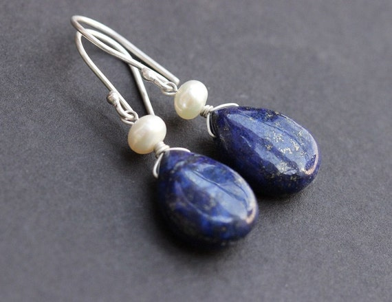 Lapis Lazuli earrings - Blue lapis pear earrings - Gemstone earrings - Tear drop - dangler - Sterling silver - Christmas gift idea