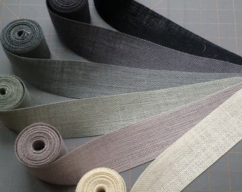 2.5 inch Grey or Black Burlap Ribbon - 3 yards