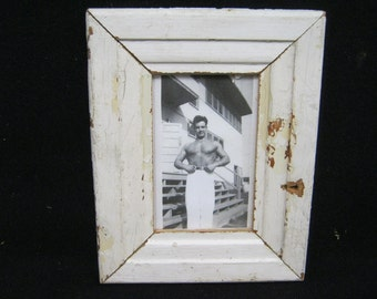 RECLAIMED WOOD Picture Frame 4x6 Shabby White Recycled CHIC s2251-14