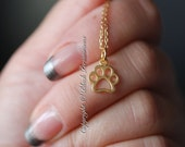 Paw Print Necklace - 24K Gold Plated Sterling Silver Vermeil Openwork Charm - 14K Gold Filled Delicate Chain - Insurance Included