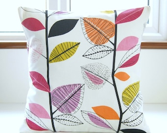 decorative pillow cover leaves raspberry pink black lilac amethyst orange, cushion cover 18 inch