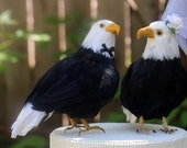 American Bald Eagle Wedding Cake Topper: Rustic Bride and Groom Love Bird Cake Topper -- LoveNesting Cake Toppers