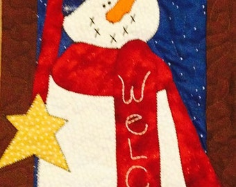 Welcome Snowman Door Banner